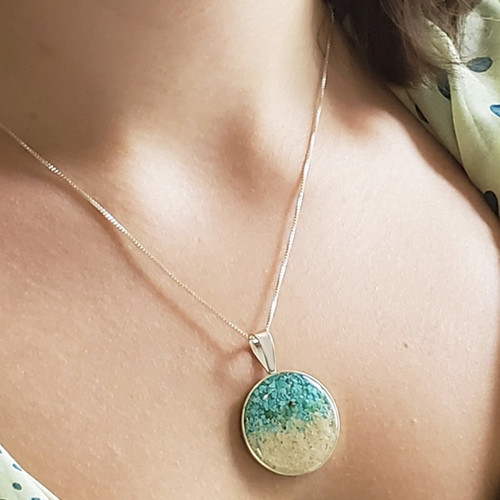 DELAWARE BEACHES®  Dune Sterling Silver Marina with Gradient Turquoise Necklace - IN STOCK