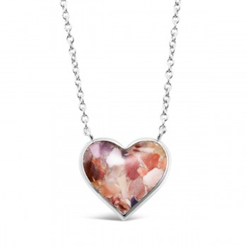 Dune Sand Sterling Silver Stationary Heart Necklace