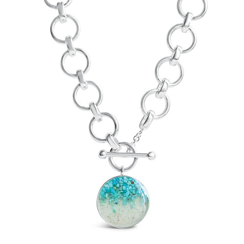 Sterling Silver Dune Mediterranean Necklace with Turquoise