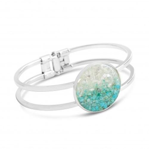 Dune Marina Gradient Turquoise Silver Plate Cuff Bracelet