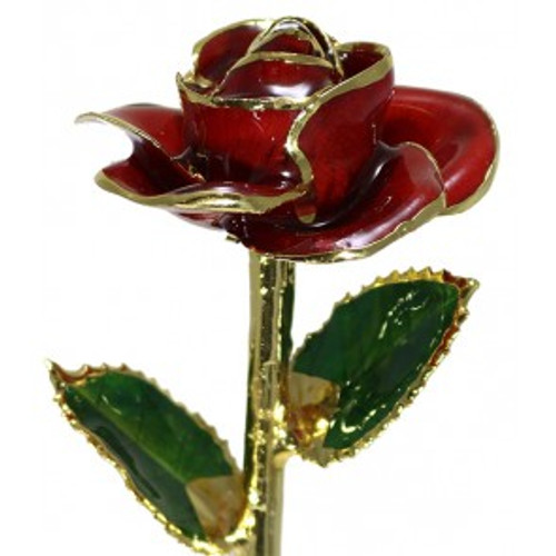 """NEW """"Diana"""" Red Rose Trimmed in 24KT Yellow Gold!"""