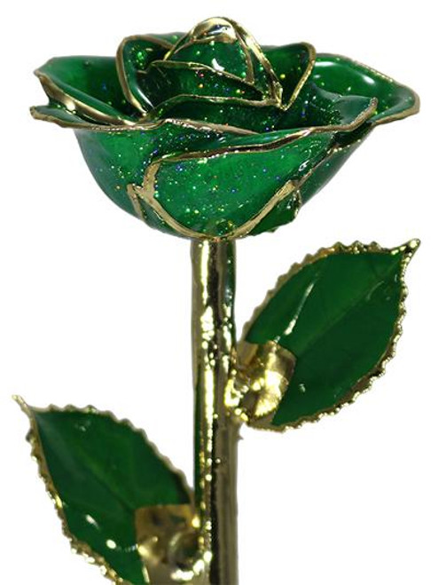 """NEW """"Emerald Isle"""" Dark Green Sparkle Rose Trimmed in 24KT Yellow Gold!"""