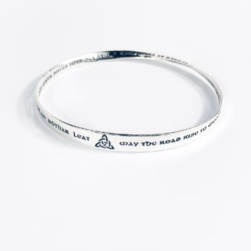 """Sterling Silver """"May The Road Rise To Meet You"""" - St. Patrick Bangle Bracelet"""