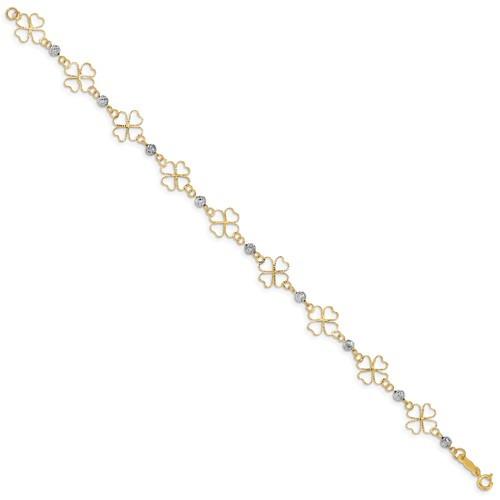"14KT Two Toned Open Clovers & Beads Bracelet 7.5"""