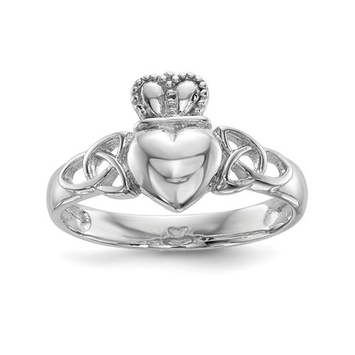 Sterling Silver Rhodium Plated Polished Claddagh Ring