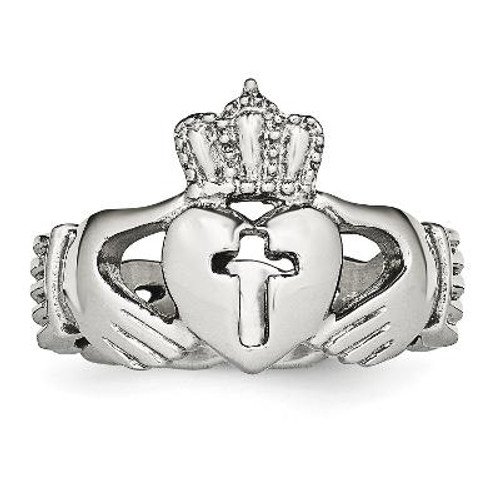 Stainless Steel Polished Claddagh with Cross Ring