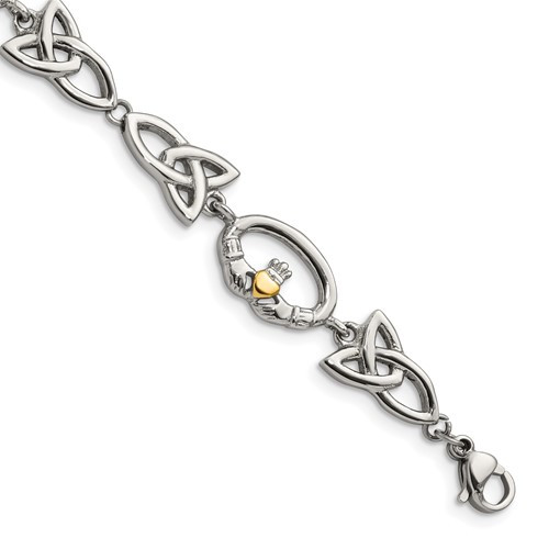 Stainless Steel Polished Yellow IP Plated Claddagh Bracelet