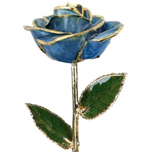 """Blue Crush"" Light Blue Rose Trimmed in 24kt Gold LG"