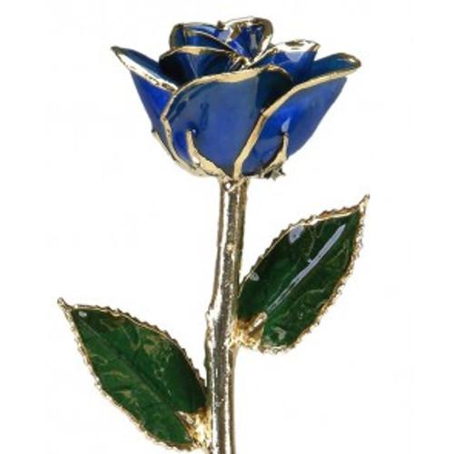 """""""Deep Blue Wave"""" Dark Blue Rose Trimmed in 24kt Gold"""