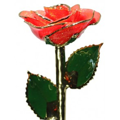 """""""Heart of Fire"""" Bright Red Sparkle Rose Trimmed in 24kt Gold"""