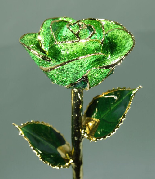 """Emerald City"" Dark Green Sparkle Rose Trimmed in 24kt Gold"