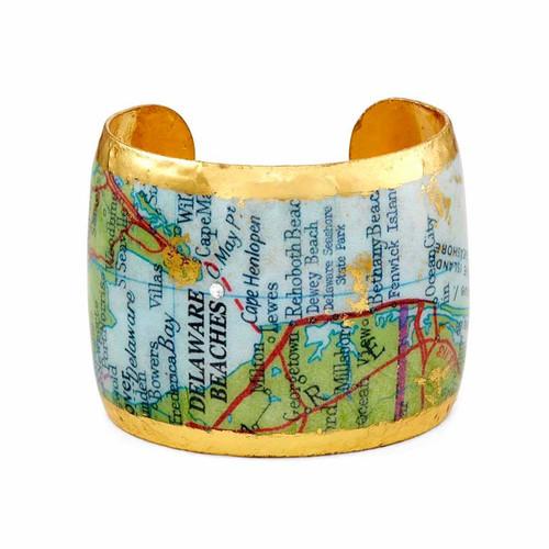 Delaware Beaches® Map 22K Gold Leaf Cuff - 2 Inches in Width