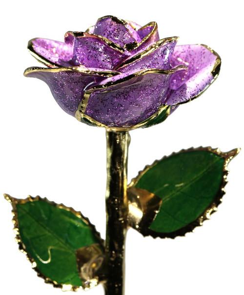 """""""Lavender Fields"""" Light Purple Sparkle Rose Trimmed in 24kt Gold"""