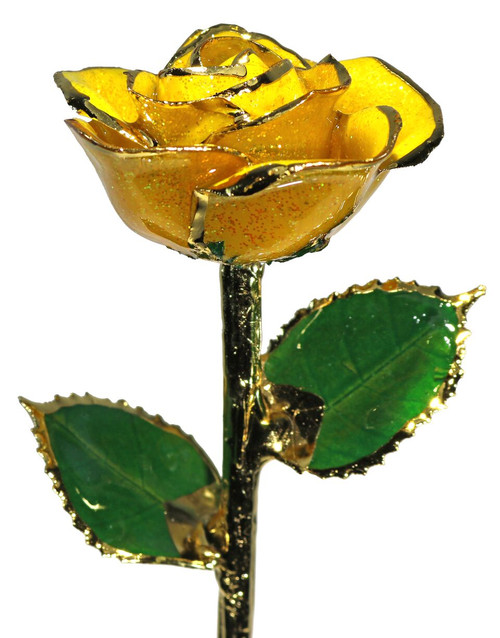 """""""Lemon Ice"""" Yellow Sparkle Rose Trimmed in 24kt Gold"""