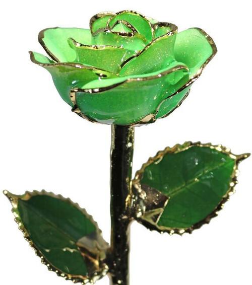 """""""Spring Fever"""" Light Green Sparkle Rose Trimmed in 24kt Gold LG"""