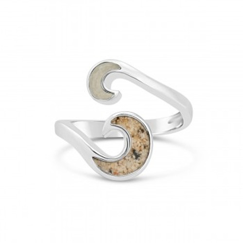 Sterling Silver Dune Wave Bypass Ring