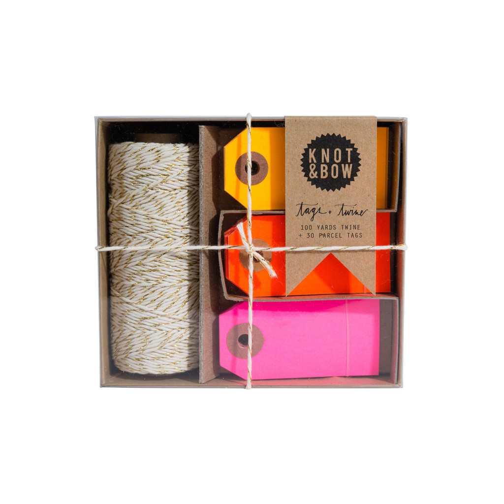 Tag + Twine Box, Gold Warm Neon