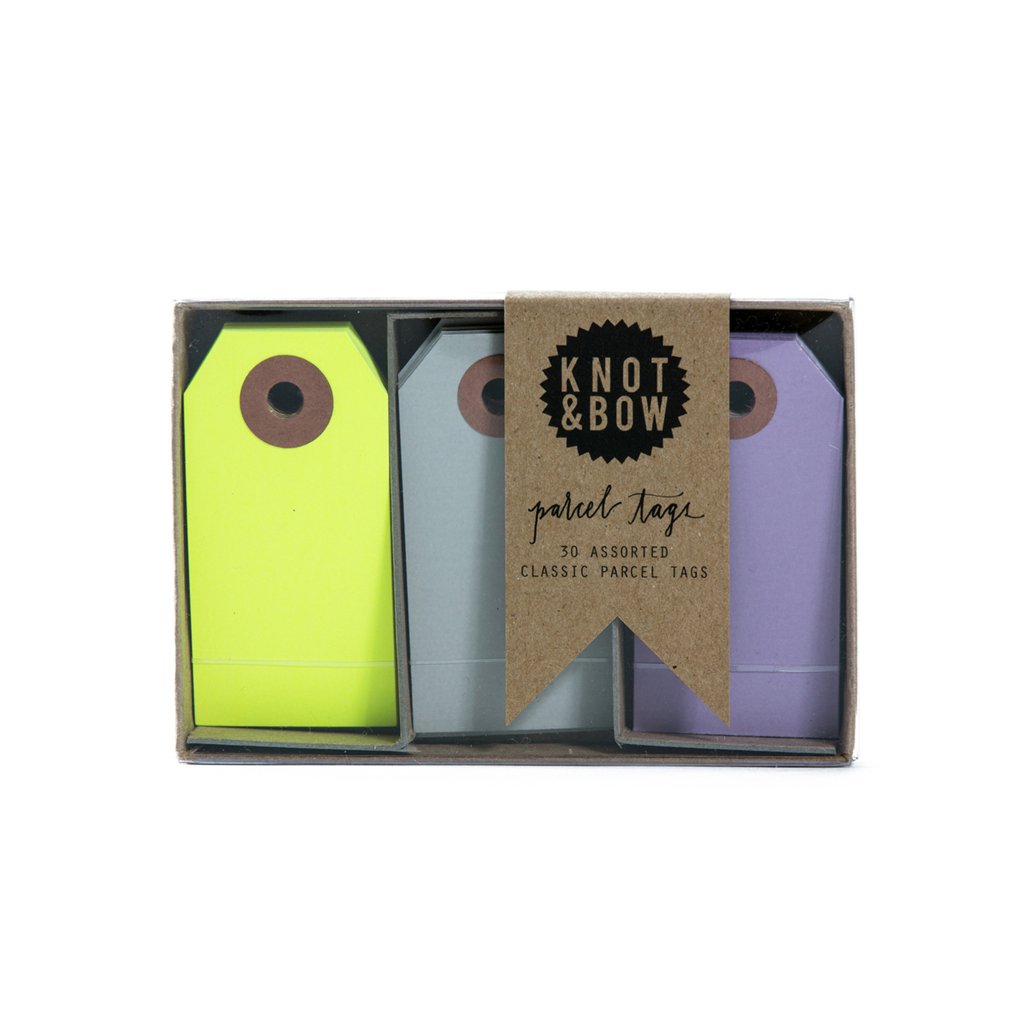 Parcel Tag Trio Box, Yellow + Violet Mix