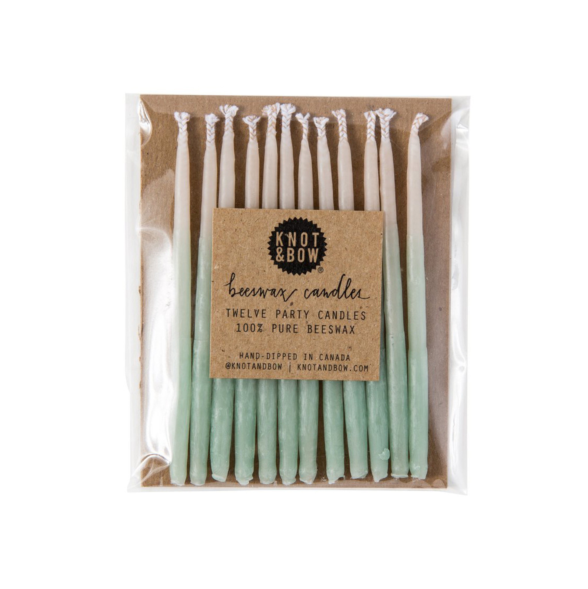 Ombré Beeswax Party Candles, Green