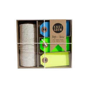 Tag + Twine Box, Silver Cool Neon