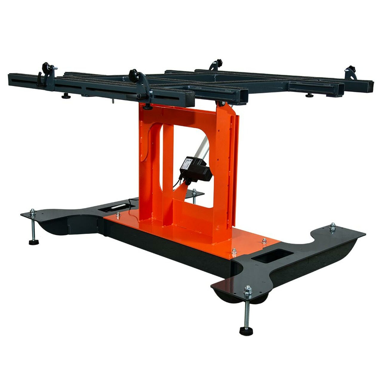 Multi-position panel assembly table with electric tilting in flat position.