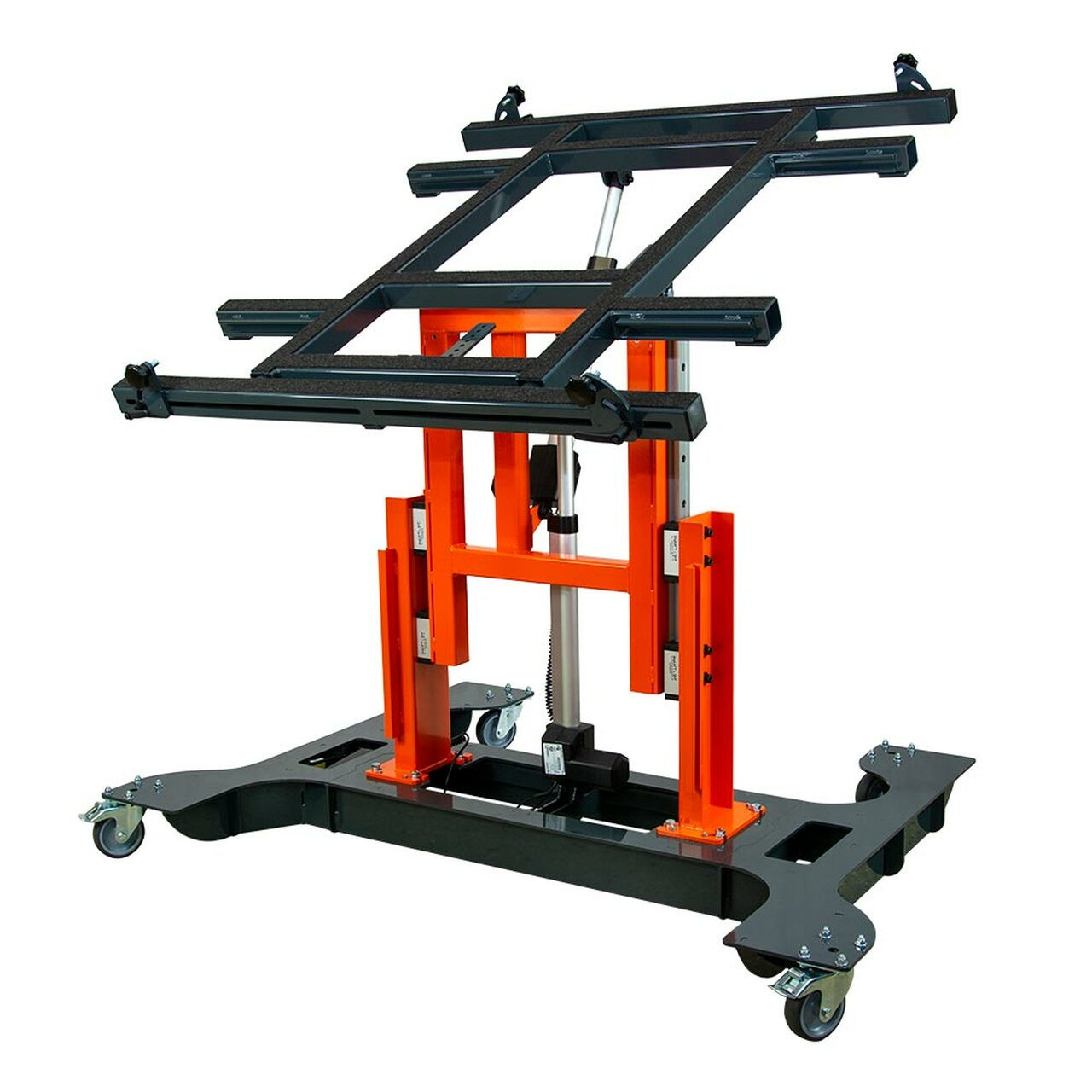 Multi-position panel assembly table with electric tilting and height adjustment-raised.