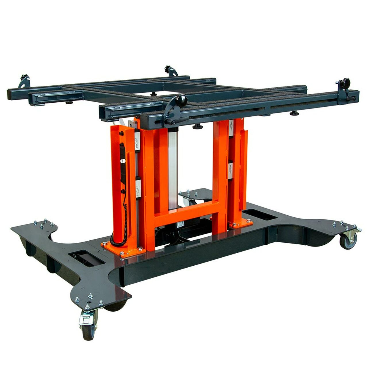 Multi-position panel assembly table with electric tilting and height adjustment-lowered and flat.