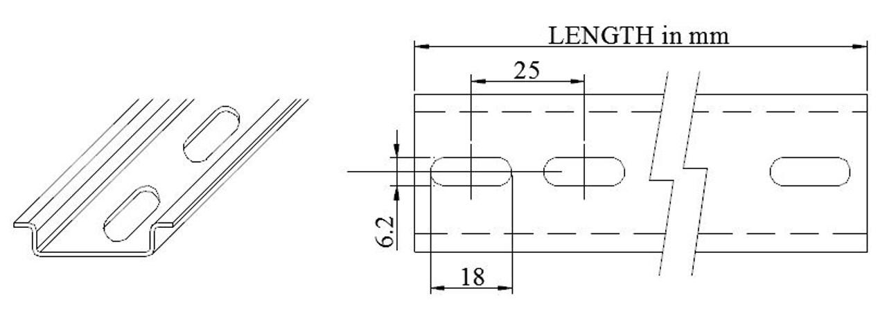 DIN Rail dimensions - NEW Pre-Cut 35x7.5mm RoHS, Steel Slotted