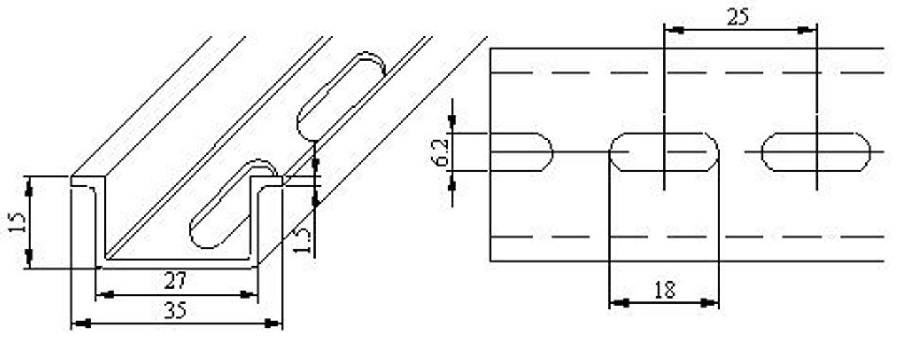 DIN Rail - 35 x 15 mm dimensions