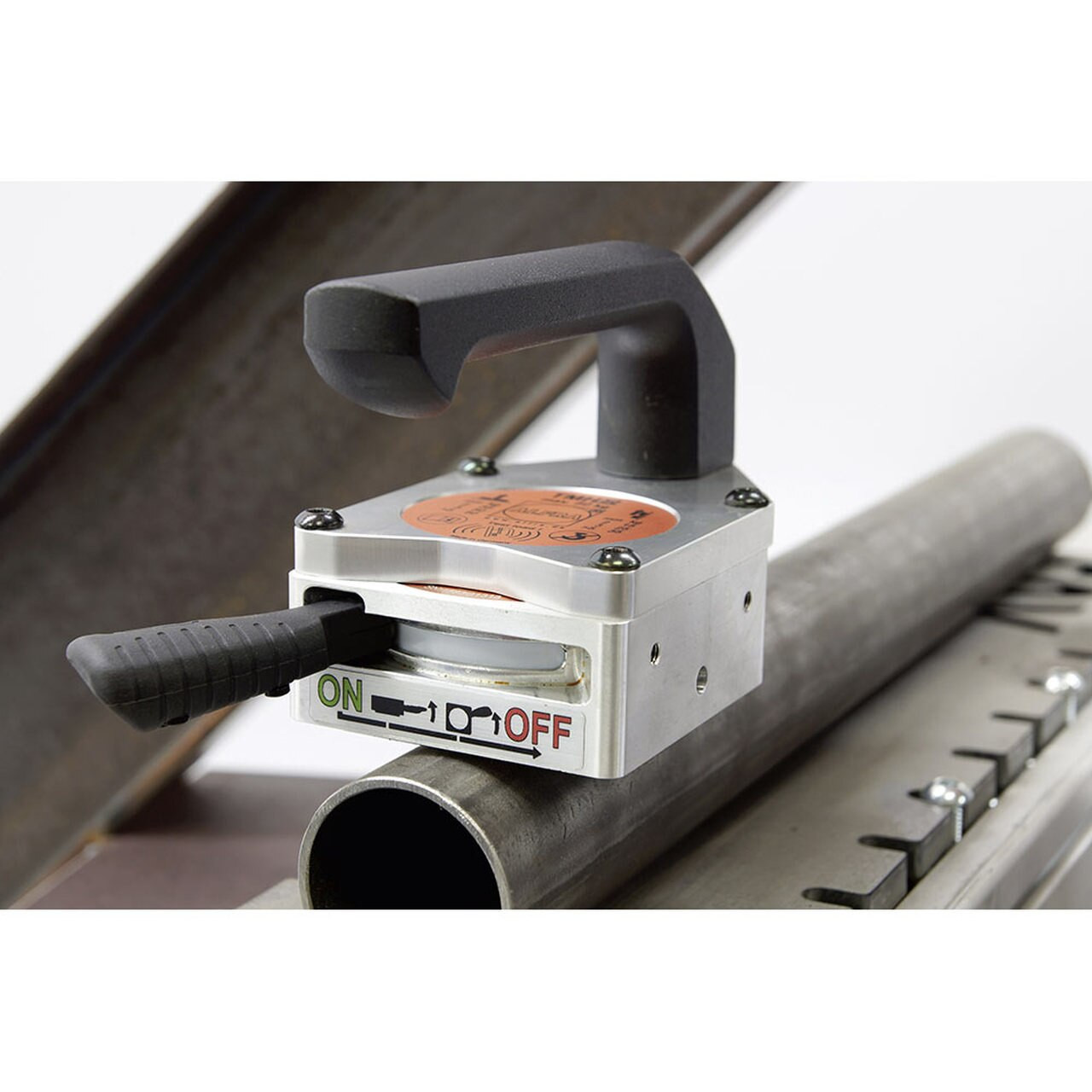 Alfra TMH-66-R Hand Lifting Magnet on a pipe