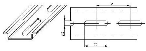 Narrow slotted steel DIN rail - 7.5 x 35mm
