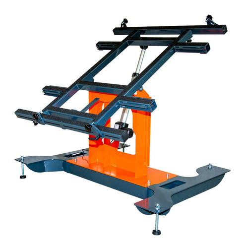 Multi-position panel assembly table with electric tilting in tilted position.