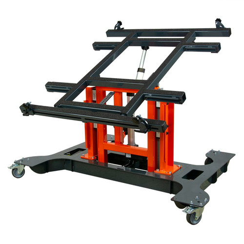 Multi-position panel assembly table with electric tilting and height adjustment-lowered and tilted.