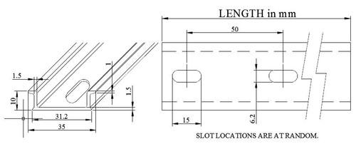 Pre-Cut Aluminum DIN Rail Dimensions