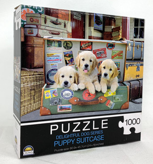 Puzzle Delightful Dog Series Puppy Suitcase 1000 Jigsaw Pieces