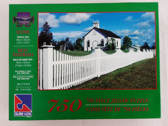 Scenic 750 piece Jigsaw Puzzle: Old Church & Fence, New Hampshire