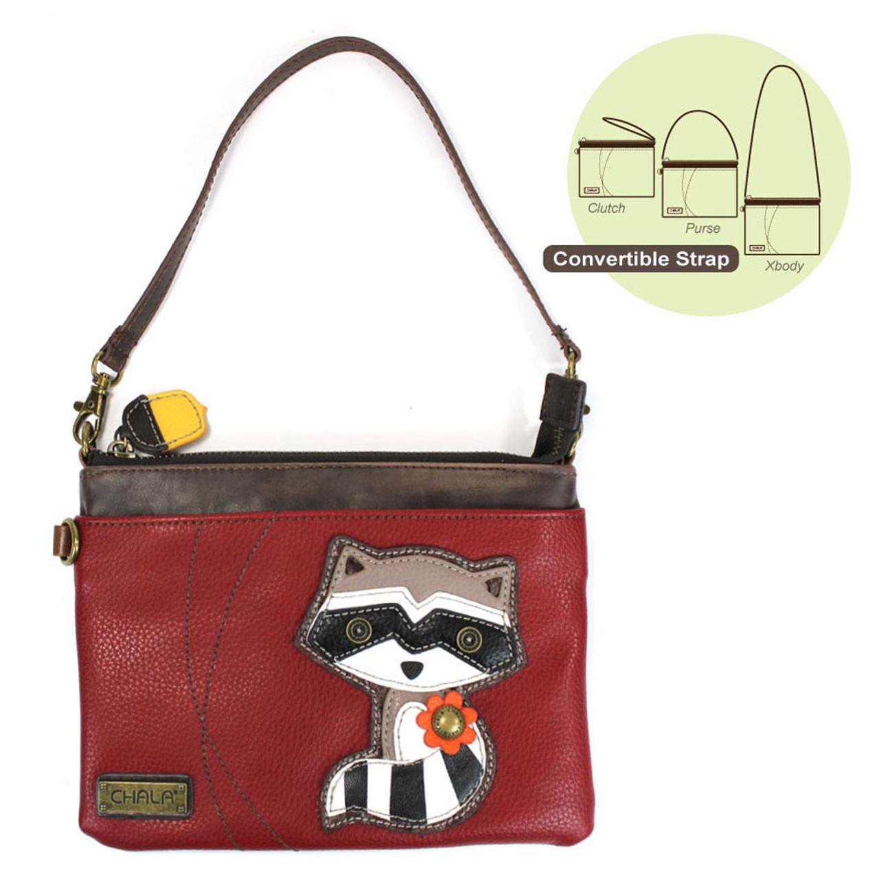 Navy Faux Leather Chala Handbags Mini Crossbody Clutch Purse Bag Red Cardinal