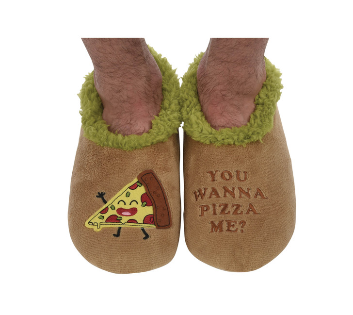 """""""You Wanna Pizza Me'- Men's Snoozies® Pairables Slippers"""