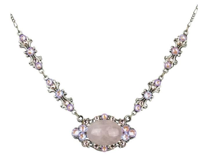 Antique SIlver Tone Rose Quartz, Lavender Delite Stoned Bowtie Necklace- Genuine Crystal