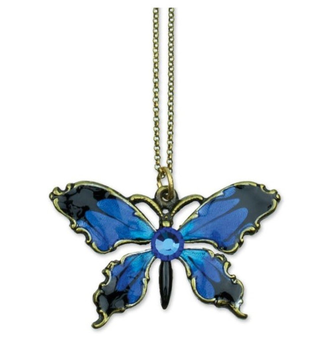 Small Enamel and Crystal Butterfly Necklace - Antique Brass