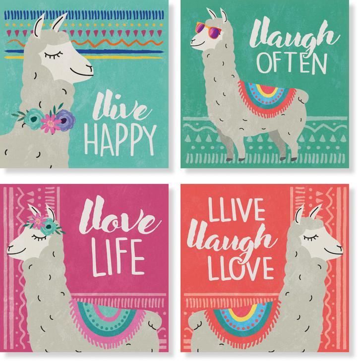 "4"" Square Coaster Set of Four - Happy Llamas"