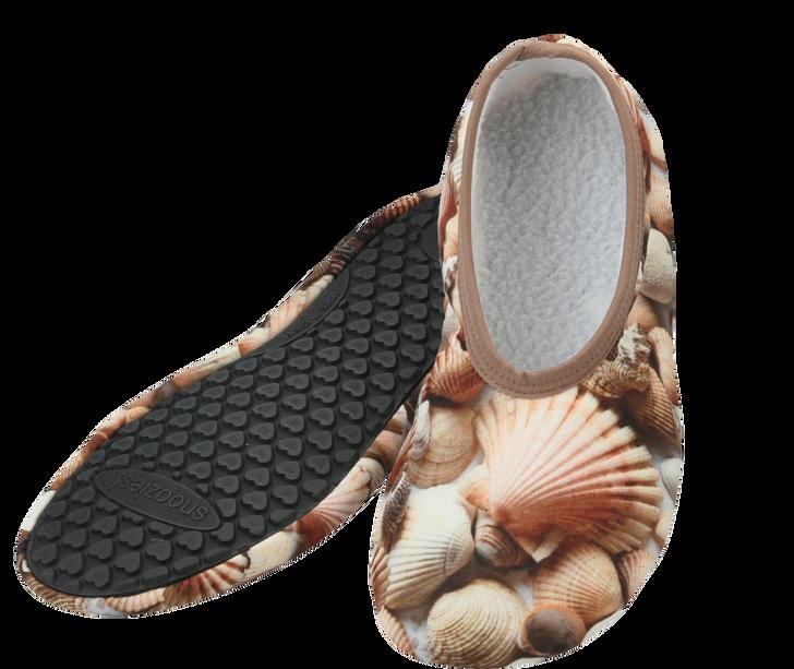 Walking on Air Snoozies!® Hard Sole Slippers - Seashells/Brown