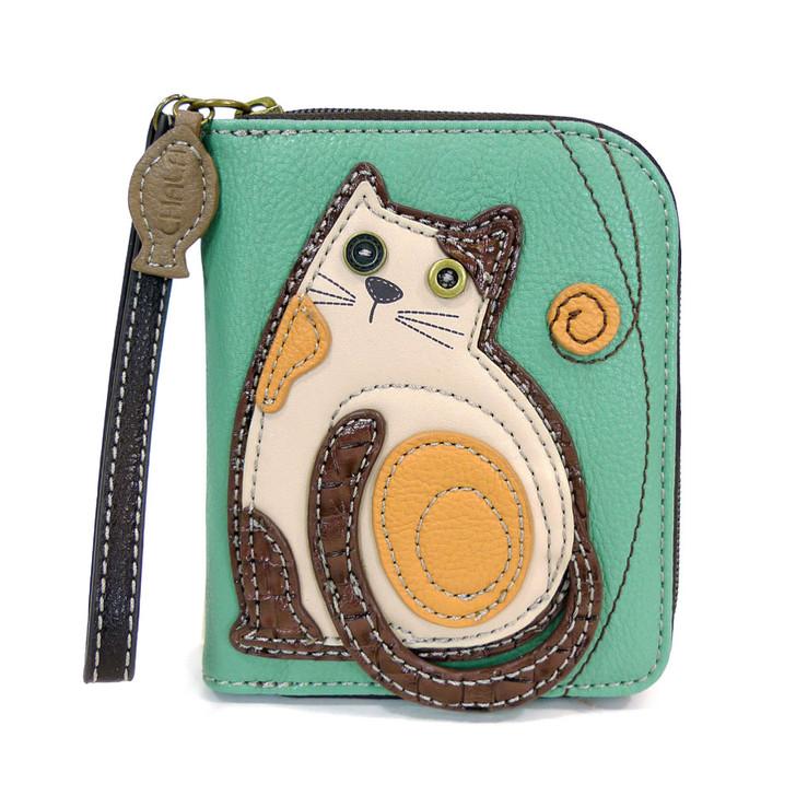 Chala Zip Around Wallet -Cat, Teal