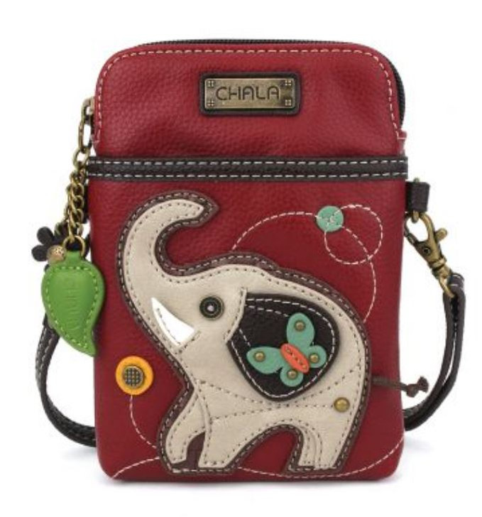 Chala Cell Phone Crossbody - Elephant, burgundy