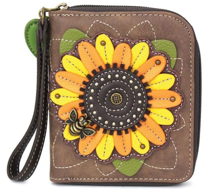 Chala Zip Around Wallet -Sunflower, Brown