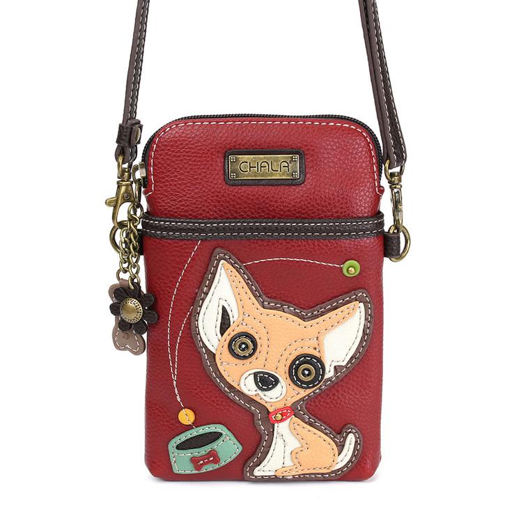 Chala Cell Phone Crossbody - Chihuahua, Burgundy