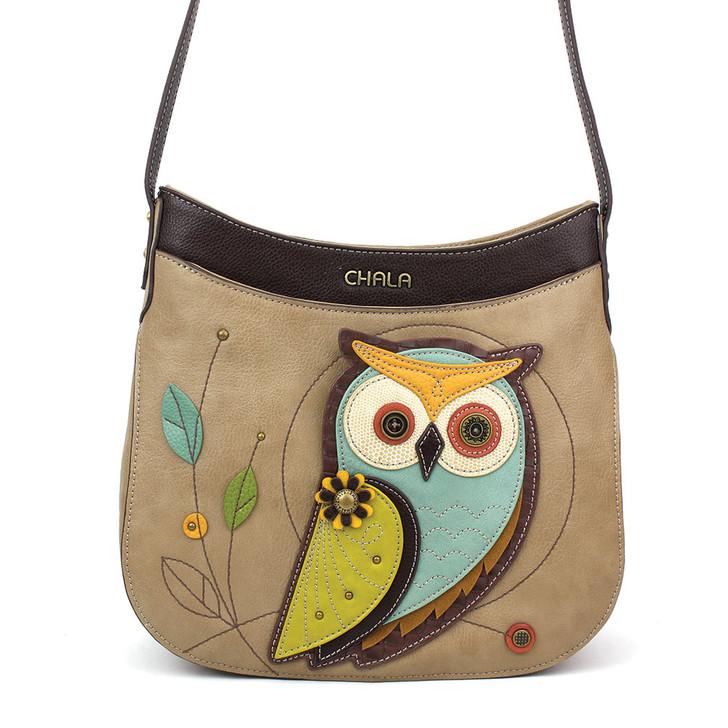 Chala Crescent Crossbody Bag  -Owl , taupe