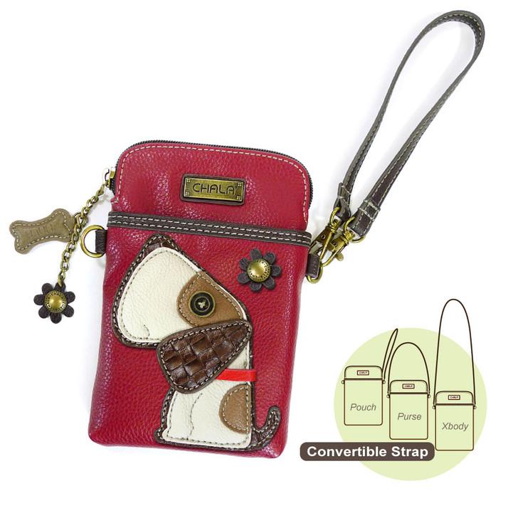 Chala Cell Phone Crossbody - Dog, Burgundy