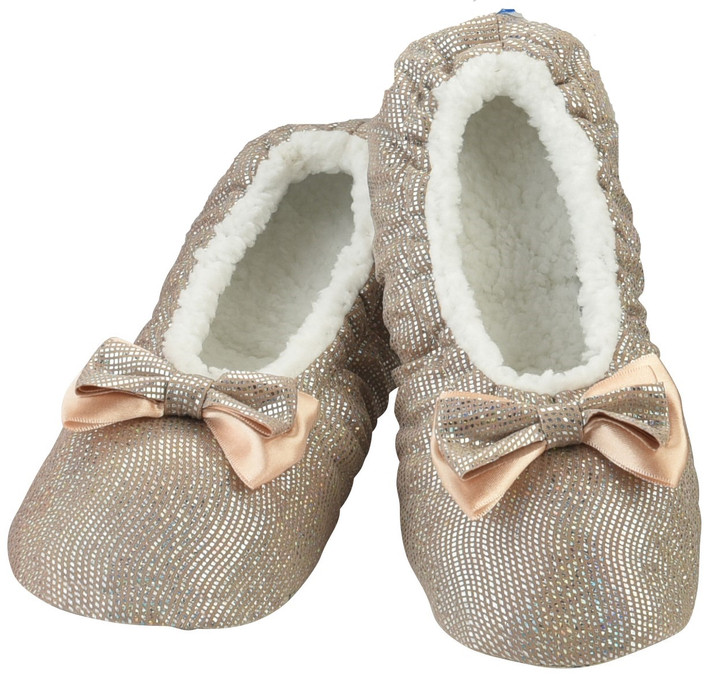 All That Glitters Ballerina Women's Snoozies!® Slippers - Sand/Champagne
