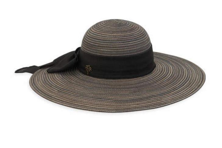 Black Polybraid Floppy Sun Hat with Linen Scarf by Sun 'N' Sand®